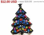 Black Rhinestone Christmas Tree with Sparkling Rhinestones and Star on top - Vintage Holiday Jewelry