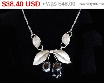 Spring Fling Sale A & Z Sterling Silver Necklace - Marcasite stones, gemstones, fruit and gemstones, vintage 1950s, sterling silver vinta...