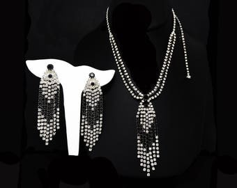 Black & White Rhinestone Necklace Earrings Set Signed Eisenberg Ice,  Demi Parure Dangling Should Dusters Pendant Necklace, Vintage 1970's