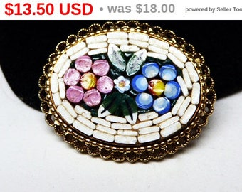 Italian Mosaic Flower Brooch - Pink & Blue Flowers, White Mosaic, Oval Gold Tone Setting - Signed Italy Vintage 1960's 1970's Pin