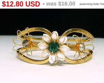 Vintage Hinged Floral Bracelet - White Enamel Flower with Green Rhinestone - Mid Century Jewelry