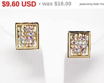 Summer Sizzler Sale Square Aurora Borealis Rhinestone Earrings - Clip on Gold tone Vintage Earrings with AB's - Mid Century 1950's 1960's...