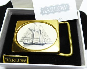 Barlow Faux Scrimshaw Sail Boat Belt Buckle - Inlaid Creamy White Lucite - Black Sketch - Sailing Boat - Solid Brass Buckle - Vintage 1980s