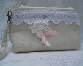 Wristlet made from Linen and Roses with a Pretty Pink Bow
