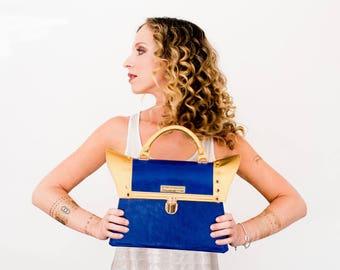 The Empress Satchel. Day and Evening Handbag. Royal Blue & Gold Genuine Leather. Handle Purse