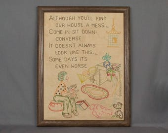 Vintage Sampler, Hand Embroidered on linen with colored floss thread Picture of a room with poem in block letters Very nice Wood framed