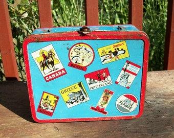 Vintage Wonderful Metal Lunch Box With Handle Latch Closure Ohio Art World Travel