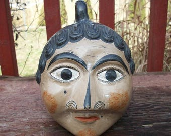 Vintage Beautiful Hand Crafted Mexico Mexican Tonala Pottery Woman's Face Head Bank with Carry Handle Signed Solis