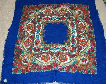 Vintage Beautiful Head Neck Scarf Never Used Original Price Tag Rayon Challis Made in Japan Floral Blue Red Green Yellow Hand Fringed