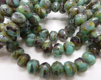100 Czech Glass Fire Polished Roundel Beads in Opaque Green Turquoise/Amethyst with Picasso finish  5x7mm Size
