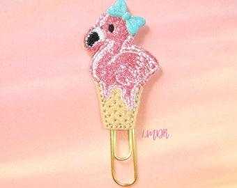 Flamingo Cone Cutie Glitter Paperclip Planner Clip