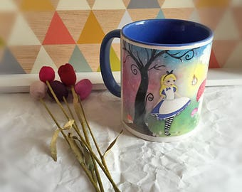 "Illustrated and colorful ""Alice"" mug"