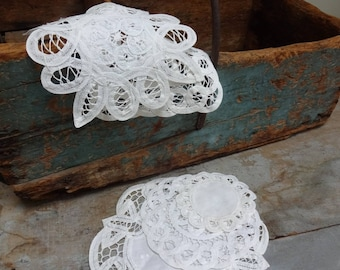 Five Small Antique Round Linens