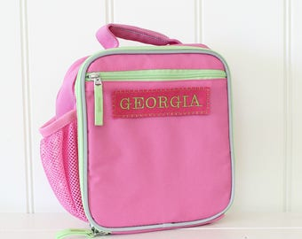Girl's Lunch Box With Monogram Upcycled Pottery Barn (Fairfax) -- Pink/Green