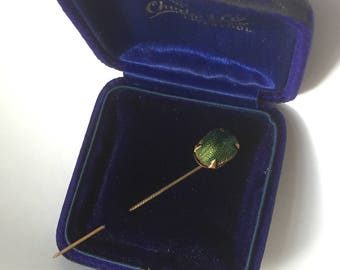 Real vintage scarab beetle stickpin or hatpin  - egyptian revival or earlier