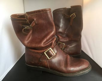 Vintage conker brown leather engineers or biker motorcycle boots - UK 6 to 6.5 or US 8 to 8.5