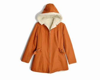 Vintage 70s Sherpa Lined Winter Coat in Rust Orange / Hooded Winter Coat - women's xs