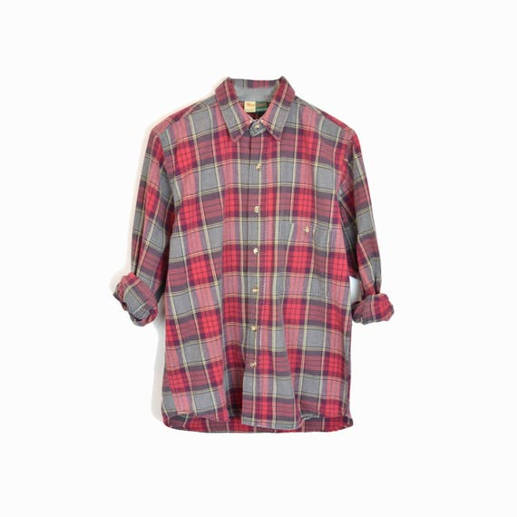 Vintage 90s Plaid Work Shirt in Red & Gray / Red Plaid Lumberjack Plaid Shirt -  men's medium