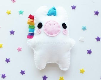 ON SALE - Unicorn Plush - Cute Softie , Kawaii Plushie, Children's Toy, Decorative Pillow, His and Hers Gift