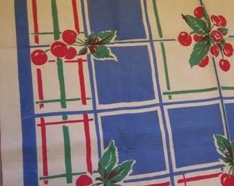 yummy cherries linen table cloth