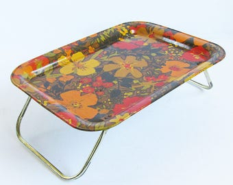 Mid Century Metal Litho Lap Tray - Mod Floral Graphics