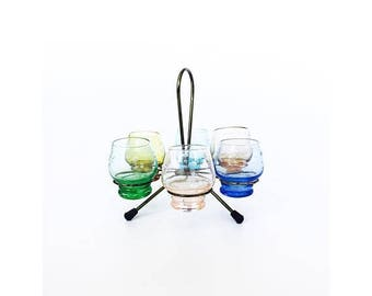 ON SALE Set of 6 Colorful Vintage Cordials with Brass Stand