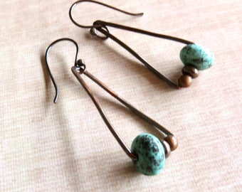 Geometric Triangle Drop Earrings Copper and Turquoise