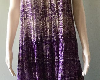 Vintage 70's KAISER Purple Flower 100% Cotton dress Size Small
