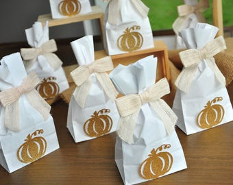 Our Little Pumpkin is One Mini Favor Bags and Burlap Bows. 10CT. Handmade in 2-3 Business Days. Pumpkin 1st Birthday Party Favors.