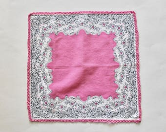 Vintage 1950s Pink and White Floral Handkerchief with Crochet Edging