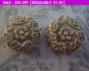 50% OFF Clearance SALE Cream & Gold Coin Beads - 22mm Round Beads - Mediterranean Design - Lucite from Germany - Qty 2