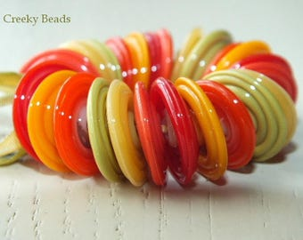 "Handmade Lampwork Disc beads ""Citrus""! Creeky Beads SRA"