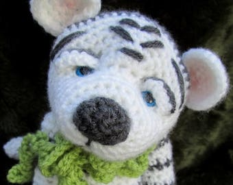 Summer Sale Crochet Pattern White Tiger by Teri Crews Wool and Whims Instant Download PDF Format