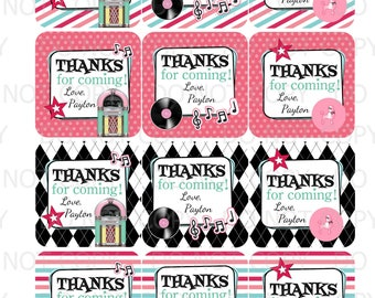 Printable Personalized 50's Sock Hop Diner Theme Favor Tags