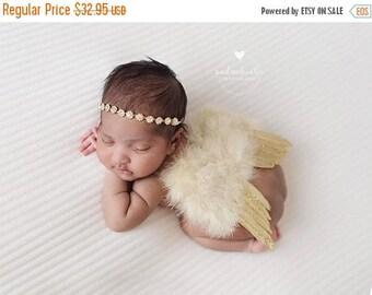 ON SALE NEWBORN Wings, wings and rhinestone headband set, Gold Angel Wings, newborn photography prop, baby wings, fairy wings