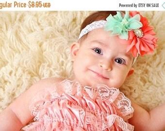 ON SALE Mint and Coral baby headband, newborn headband, toddler headband, newborn photography prop