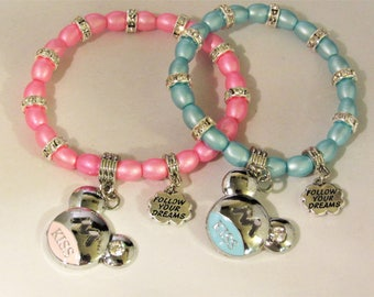 Mouse Kiss and Follow Your Dream Beaded Stretchy Bracelet