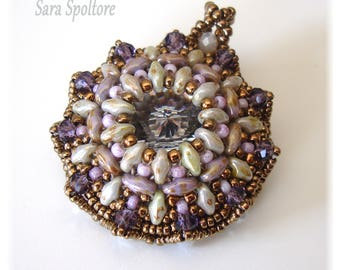 Beaded round pendant - Violet purple bronze pendant - Handmade pendant with beads