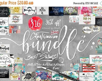 80% OFF Digital fonts Bundle and Graphics, 96 Percent Off SALE, modern Calligraphy font bundle, Brush, script, display, Watercolor Paper, We