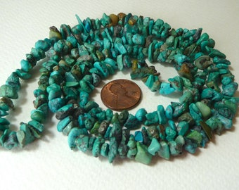 Turquoise Chips Beads, Natural Chinese Turquoise Gemstone Chips, 34 Inches Long Strand, Total strand weight 55 grams