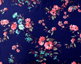 Navy Blue Pink and Aqua Floral Brushed Poly Spandex Knit, 1 Yard