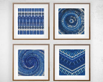 Set of 4 Indigo Blue Shibori Boho Graphic Print Moroccan Wall Art  5X5 8X8 12X12 Matting Options