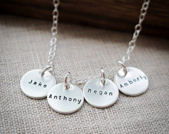 Name Necklace - Hand Stamped Sterling Silver Jewelry by Betsy Farmer Designs - Grandkid Jewelry, Personalized, Custom Names