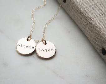 Gold Personalized Name Necklace - Custom with Birthdates 14k Gold Fill Jewelry by Betsy Farmer Designs