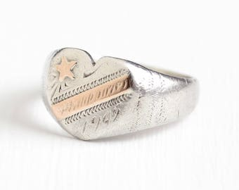Vintage Silver & Rose Gold Philippines Ring Dated 1945 - Size 10 1/2 Heart and Shooting Star WWII Mixed Metals Two Tone Historical Jewelry