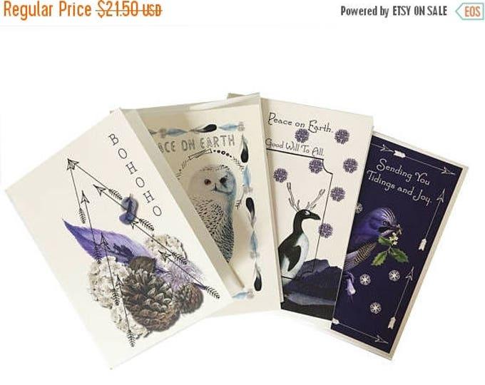 BLACK FRIDAY SALE Holiday Card Set-Christmas -Card-Blue-Bohemian- Fir Tree Scented-Essential Oil- Snowy Owl- Penguins- Blue bird