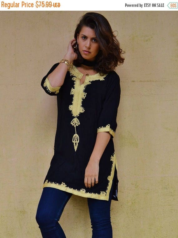 25% OFF Autumn Sale// Winter Bohemian Black with Brown Embroidery Moroccan Tunic Khalia-for gifts, holiday wear, casual wear, resortwear, be
