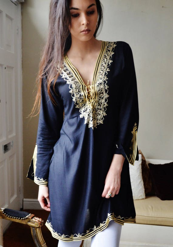 Autumn Tunic Black with Gold Embroidery Traditional Marrakech Tunic Dress - Casual wear, loungewear, resortwear