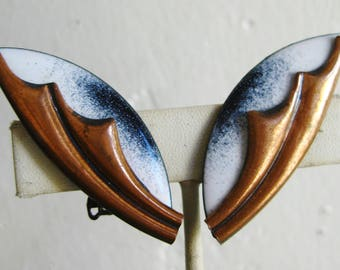 Vintage 50s 60s Copper Enamel Mid Century Modernist Clip Earrings