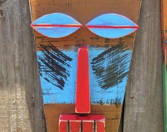 CRUZ, Rustic Tiki Mask, Tiki Man, Primitive, Hand Made Wood Sculpture